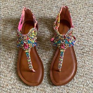 Gianni Bini Crowne Jeweled T-Strap Ankle Sandal